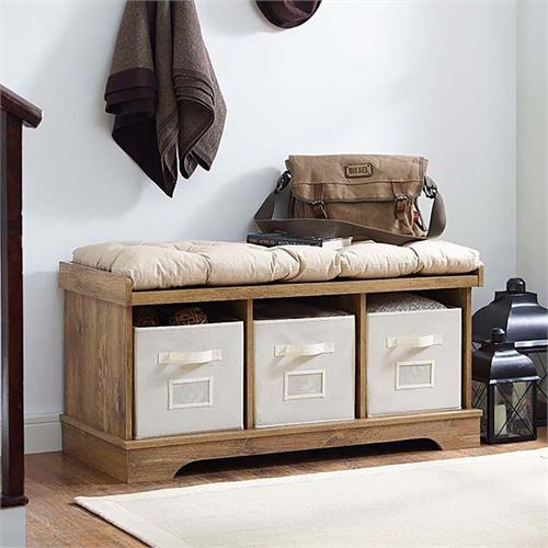 View a large image of the Walker Edison Wood Storage Bench with Cushion Barnwood B42STCBW here.