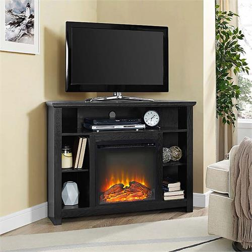 View a large image of the Walker Edison Corner Fireplace TV Stand Black W44FPHBCBL here.