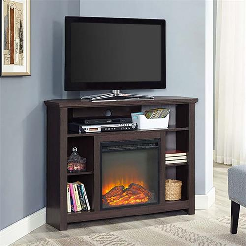 View a large image of the Walker Edison Corner Fireplace TV Stand Espresso W44FPHBCES here.