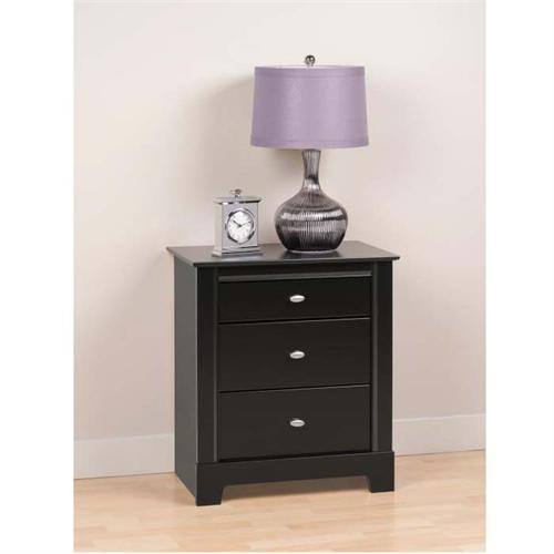 View a large image of the Prepac Kallisto Series 3 Drawer Night Stand Black BDNH-0339-1 here.