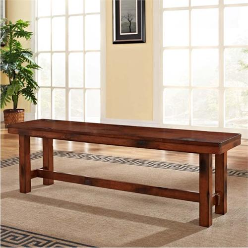View a large image of the Walker Edison Wood Dining Bench Distressed Oak DBH1DO here.