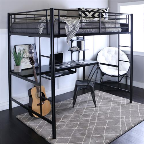 View a large image of the Walker Edison Steel Full Size Loft Bed with Computer Workstation Black BDOZBL here.