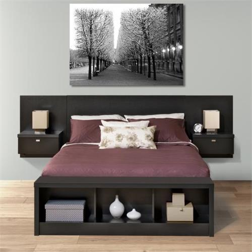 View a large image of the Prepac Series 9 Designer Floating Wall Mounted Queen Headboard with 2 Nightstands Black BHHQ-0520-2K here.