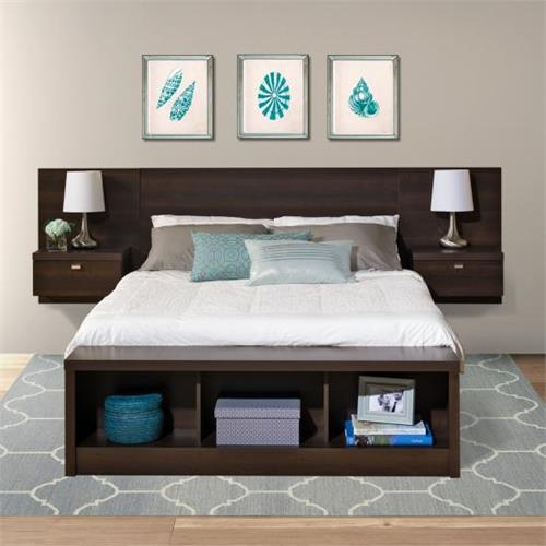 View a large image of the Prepac Series 9 Designer Floating Wall Mounted Queen Headboard with 2 Nightstands Espresso EHHQ-0520-2K here.