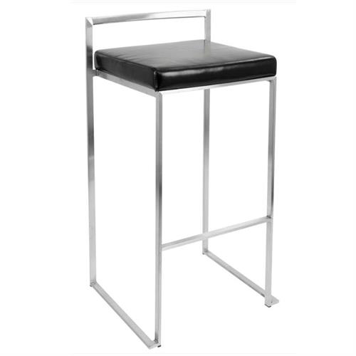 View a large image of the LumiSource Fuji Stacking Bar Stools Black Pair of 2 BS-FUJI BK2 here.