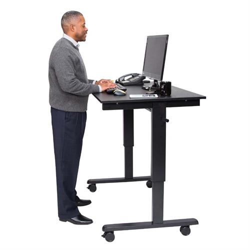 View a large image of the Luxor Adjustable Height Stand Up Desk Black STANDCF48-BK BO here.