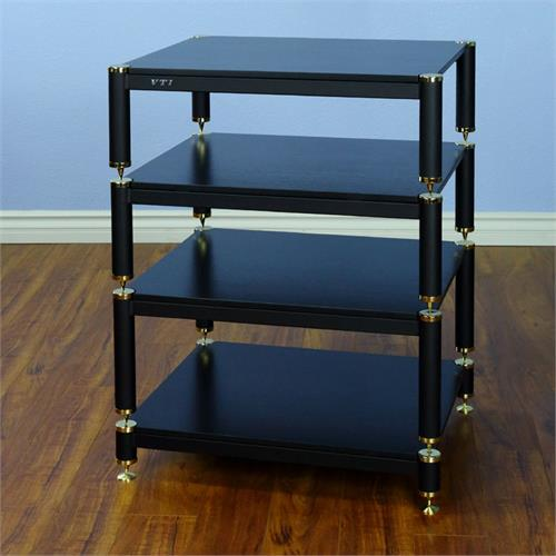 View a large image of the VTI AV Rack Gold Caps Black Frame and Black Shelf BL404GB here.