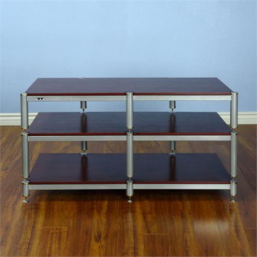 View a larger image of the VTI BL Series 44 in. AV Rack TV Stand (Silver Caps & Poles, Cherry Shelves) BL503SSC here.