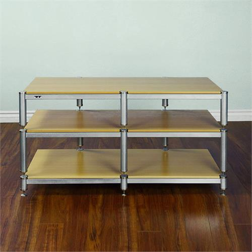 View a larger image of the VTI BL Series 44 in. AV Rack TV Stand (Silver Caps & Poles, Oak Shelves) BL503SSO here.