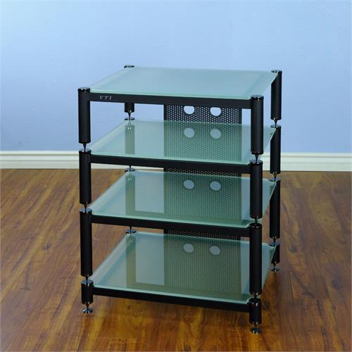 View a larger image of the VTI BLG Series Audio Video Rack (Black Poles with Frosted Glass) BLG404BF.