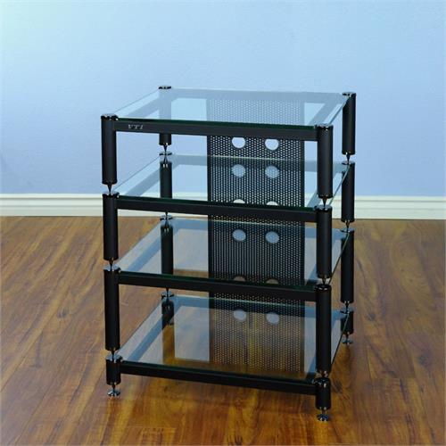 View a large image of the VTI AV Rack Black Caps Black Poles & Clear Glass BLG404BW-13 here.