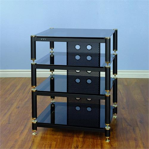 View a large image of the VTI AV Rack Gold Caps Black Poles & Black Glass BLG404GB here.