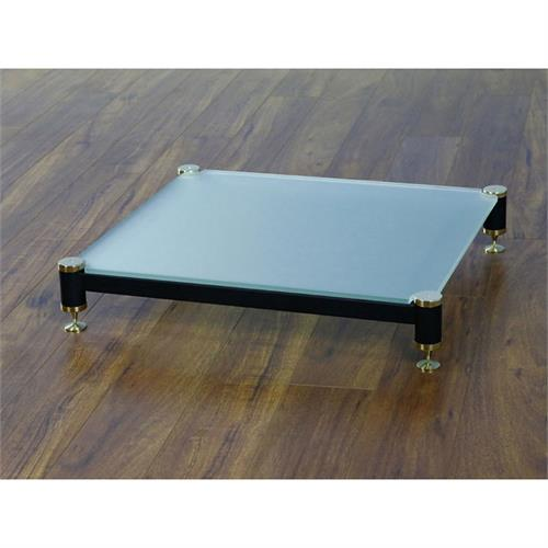 View a large image of the VTI Amp Stand Gold Caps Black Poles & Frosted Glass BLG404GF-01 here.