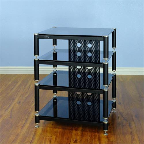 View a large image of the VTI AV Rack Silver Caps Black Poles & Black Glass BLG404SB here.