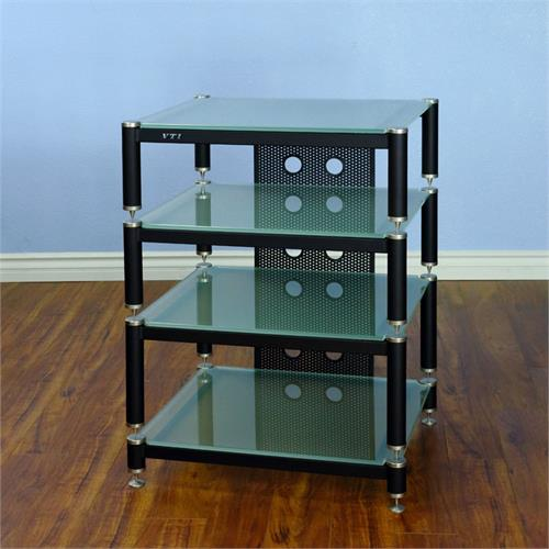 View a larger image of the VTI AV Rack (Silver Caps, Black Poles & Frosted Glass) BLG404SF-13.