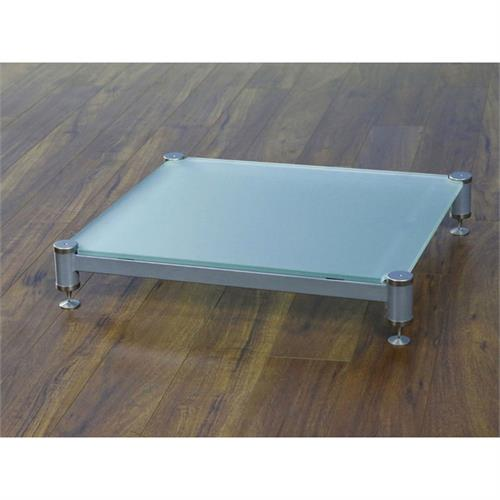 View a large image of the VTI Amp Stand Silver Caps Silver Poles & Frosted Glass BLG404SSF-01 here.