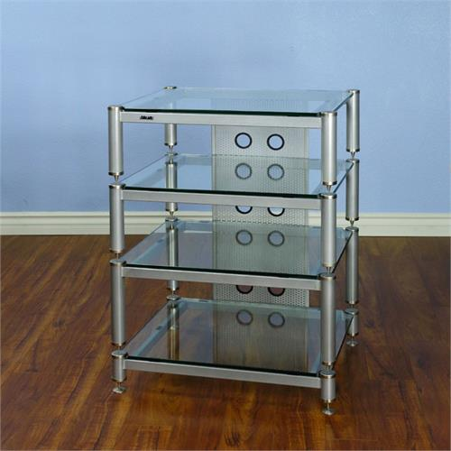 View a large image of the VTI AV Rack Silver Caps Silver Poles & Clear Glass BLG404SSW-13 here.