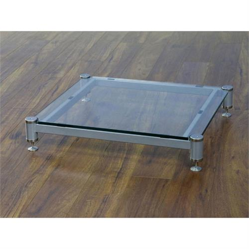 View a large image of the VTI Amp Stand Silver Caps Silver Poles & Clear Glass BLG404SSW-01 here.