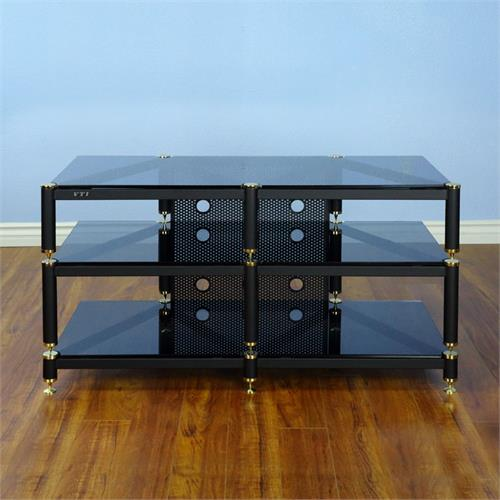 View a larger image of the VTI BLG503 Series 44 inch Wide AV Rack (Black Poles with Black Glass) BLG503BB.