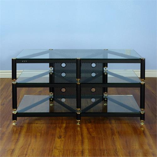 View a large image of the VTI Wide AV Rack Gold Caps Black Poles & Clear Glass BLG503GW here.