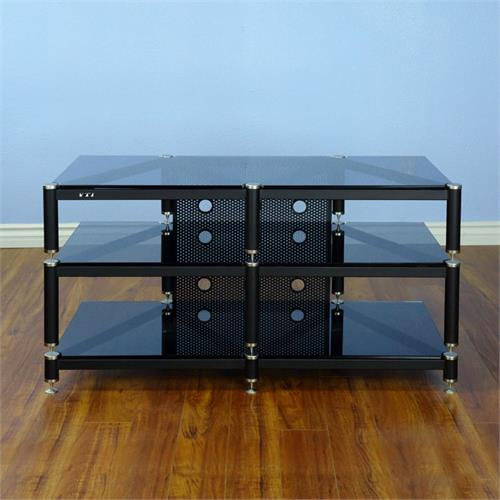 View a large image of the VTI Wide AV Rack Silver Caps Black Poles & Black Glass BLG503SB here.