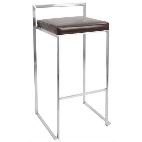 View a large image of the LumiSource Fuji Stacking Bar Stools Brown Pair of 2 BS-FUJI BN2 here.