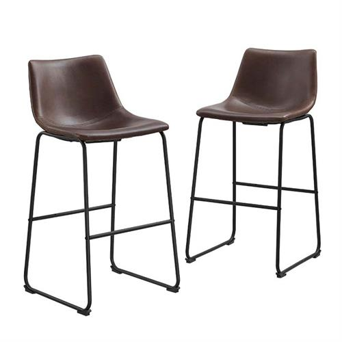View a large image of the Walker Edison Faux Leather Bar Stools Brown set of 2 CHL30BR here.