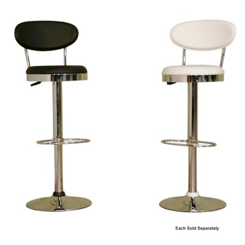 View a large image of the Wholesale Interiors Adjustable Swivel Bar Stool Black or White BS-030A here.