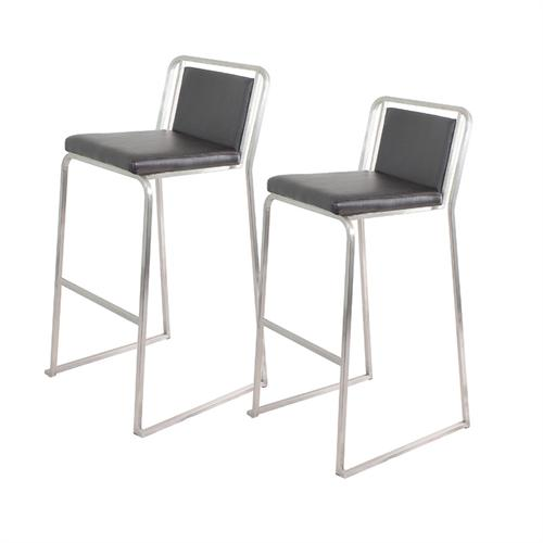 View a larger image of the LumiSource Pair of Cascade Bar Stools (Black Pair) BS-BG CASC B2.