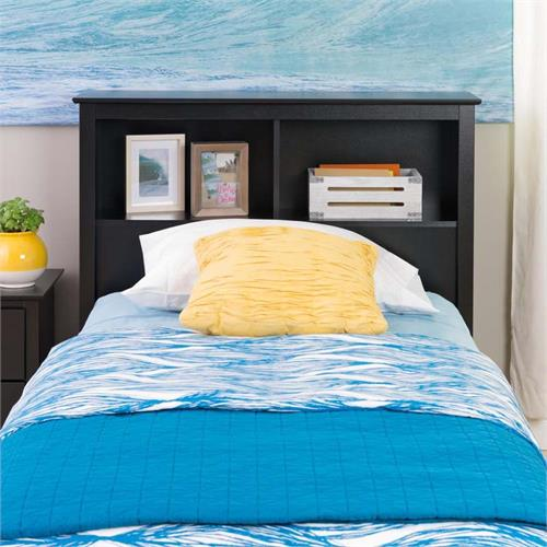 View a larger image of Prepac Monterey Collection Twin Bookcase Headboard (Black) BSH-4543.