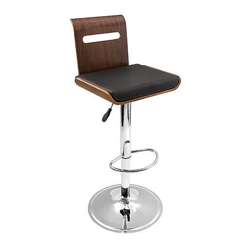 View a large image of the LumiSource Viera Barstool Walnut Wood Black Seat Walnut Black BS-JY-VIERA WAL here.