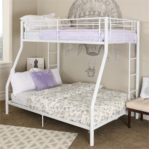 View a large image of the Walker Edison Sunrise Steel Frame Bunkbed Twin-Double White BTODWH here.