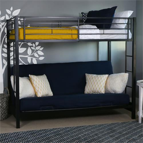View a large image of the Walker Edison Sunset Steel Frame Bunkbed Twin-Futon Black BTOFBL here.