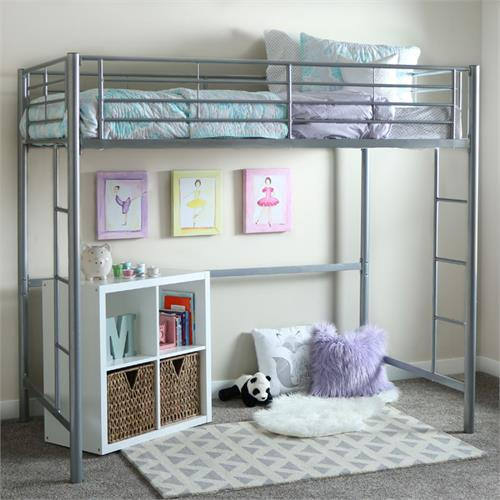 View a large image of the Walker Edison Steel Twin Size Loft Bed Silver BTOLSL here.