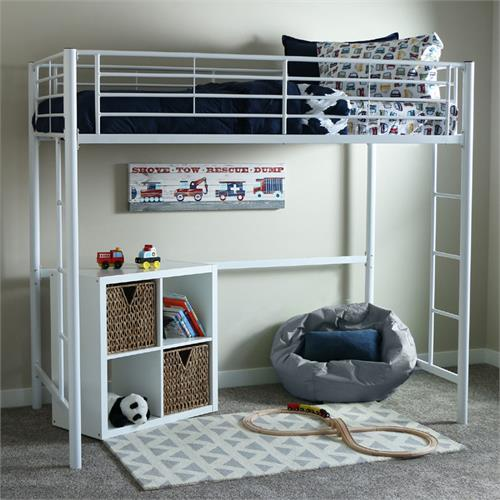 View a large image of the Walker Edison Steel Twin Size Loft Bed White BTOLWH here.