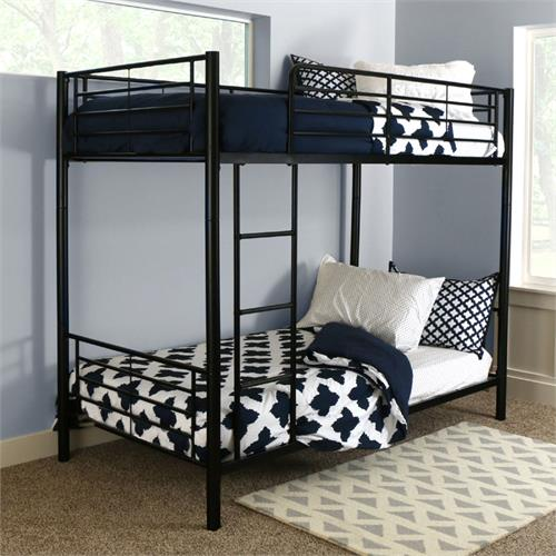 View a large image of the Walker Edison Sunset Steel Frame Bunkbed Twin-Twin Black BTOTBL here.