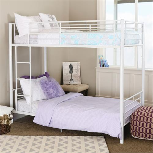 View a large image of the Walker Edison Sunrise Steel Frame Bunkbed Twin-Twin White BTOTWH here.