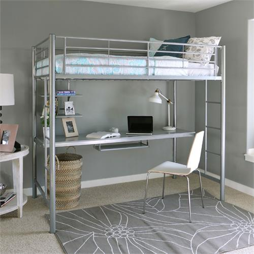 View a large image of the Walker Edison Metal Twin Loft Bed with Workstation Silver BTOZSL here.