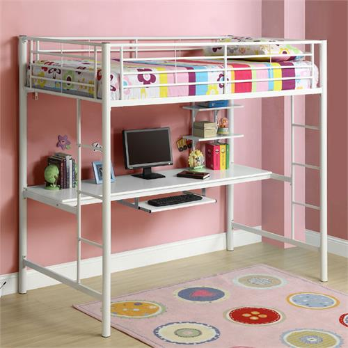 View a larger image of the Walker Edison Metal Twin Loft Bed with Computer Workstation (White) BTOZWH.