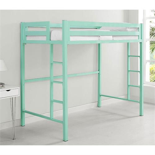 View a large image of the Walker Edison BTSQTOLMT Bentley Twin Metal Loft Bed in Mint Finish here.