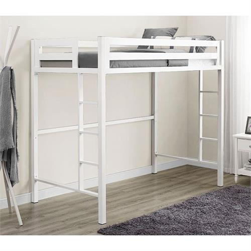 View a large image of the Walker Edison BTSQTOLWH Bentley Twin Metal Loft Bed in White Finish here.