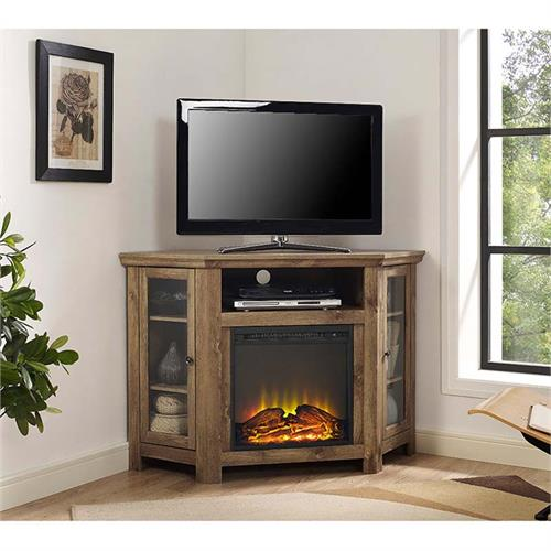 View a large image of the Walker Edison Corner Fireplace TV Stand for 50 in. TVs Barnwood Brown W48FPCRBW here.
