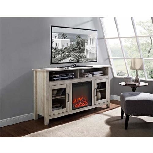 View a large image of the Walker Edison Highboy Fireplace TV Stand for 60 inch Screens White Oak W58FP18HBWO here.