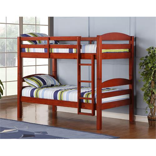 View a large image of the Walker Edison Wooden Bunk Beds Cherry BWSTOTCH here.