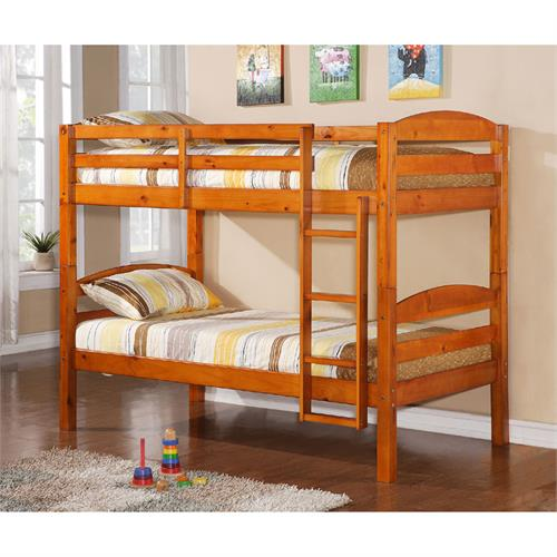 View a large image of the Walker Edison Solid Wood Twin Size Bunk Bed Honey BWSTOTHY here.