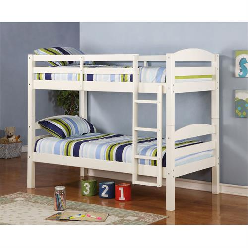 View a large image of the Walker Edison Solid Wood Twin Size Bunk Bed White BWSTOTWH here.