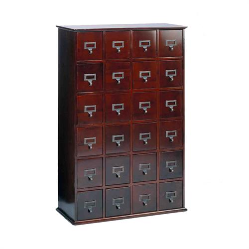 View a large image of the Leslie Dame Library Style Multimedia Storage Cabinet Cherry CD-456CHY here.