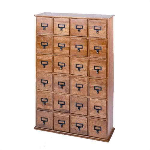 View a larger image of the Leslie Dame Library Style Multimedia Storage Cabinet (Oak) CD-456OAK.