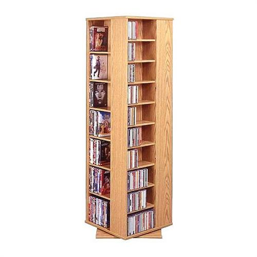 View a large image of the Leslie Dame Revolving Multimedia Tower Oak CD-1040-OAK here.