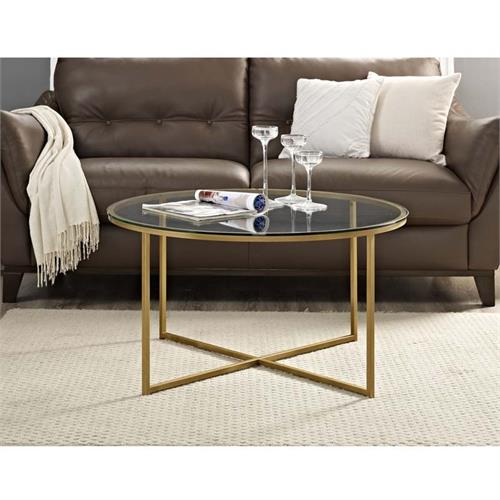 View a large image of the Walker Edison Clear Glass Coffee Table Gold AF36ALCTGGD here.